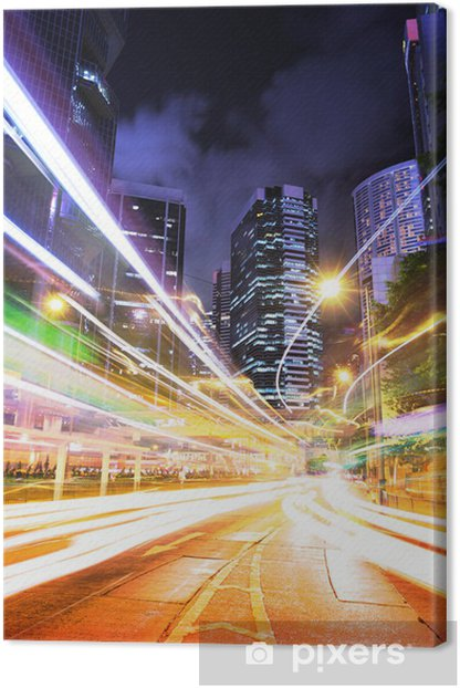 Tableau sur toile Hong Kong piste de circulation la nuit - Paysages urbains