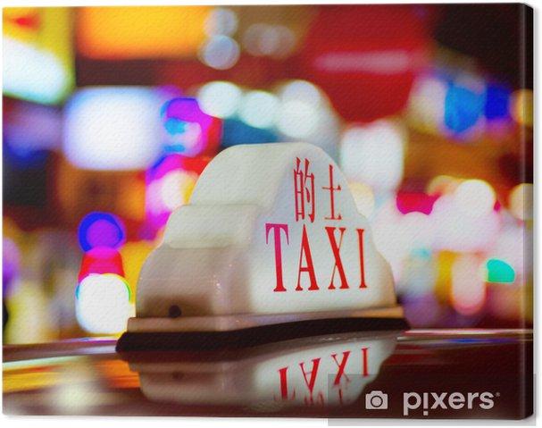 Tableau sur toile Hong Kong Taxi de nuit - Villes d'Asie