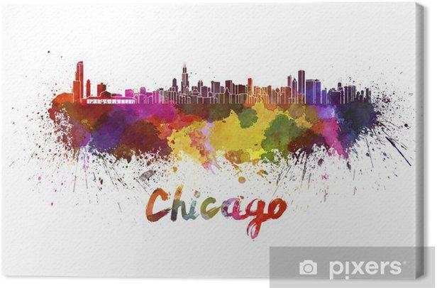 Tableau sur toile Horizon de Chicago à l'aquarelle - Thèmes
