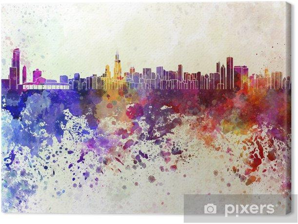 Tableau sur toile Horizon de Chicago en fond d'aquarelle - Thèmes