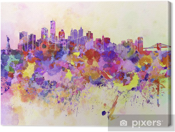 Tableau sur toile Horizon de New York en fond d'aquarelle - Styles