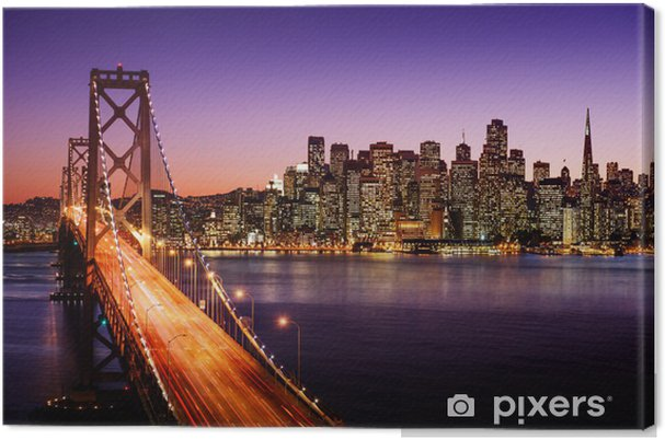Tableau sur toile Horizon de San Francisco et Bay Bridge au coucher du soleil, en Californie -