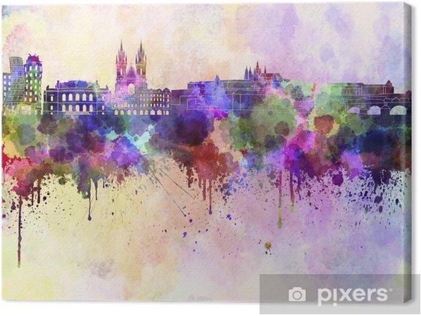 Tableau sur toile Horizon Prague en fond d'aquarelle - Prague