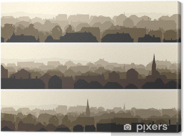 Tableau sur toile Horizontal illustration de la grande ville européenne. - Paysages urbains