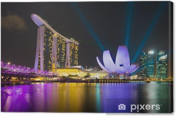 Tableau sur toile Hôtel Marina Bay Sands au laser éclairage spectacle - Industrie lourde