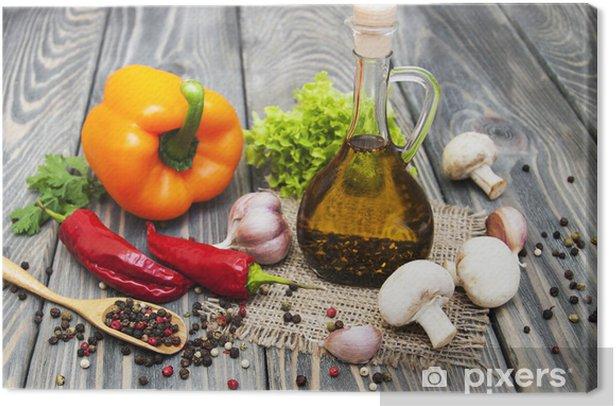Tableau sur toile Huile d'olive et légumes. - Epices, herbes et condiments