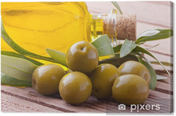 Tableau sur toile Huile et d'olives vertes à feuilles - Olives