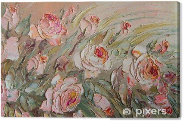 Tableau sur toile Huile originale peignant les roses - Plantes et fleurs