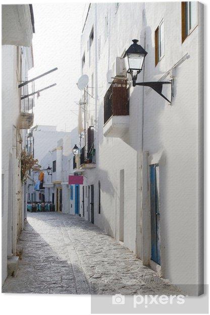 Tableau sur toile Ibiza centre-ville de maisons blanches étroites rues - Thèmes