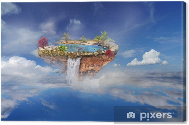 Ile Volante tableau sur toile Île volante dans le ciel et les nuages • pixers