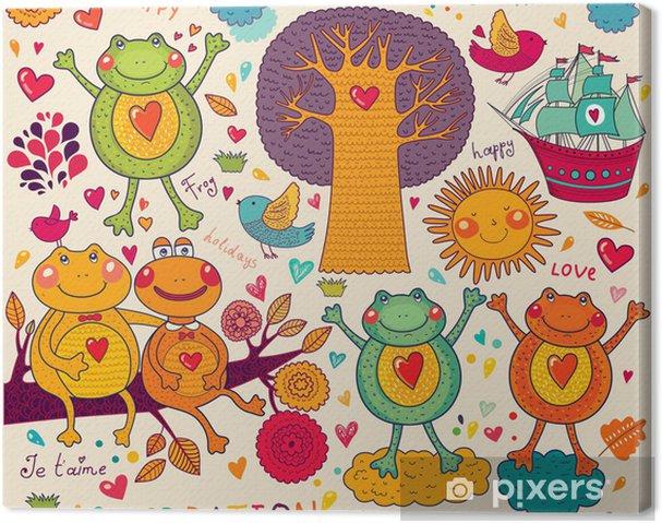 Tableau sur toile Illustration avec des grenouilles drôles - Célébrations