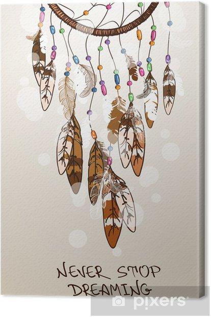 Tableau sur toile Illustration avec les Indiens d'Amérique dreamcatcher - Esotérisme