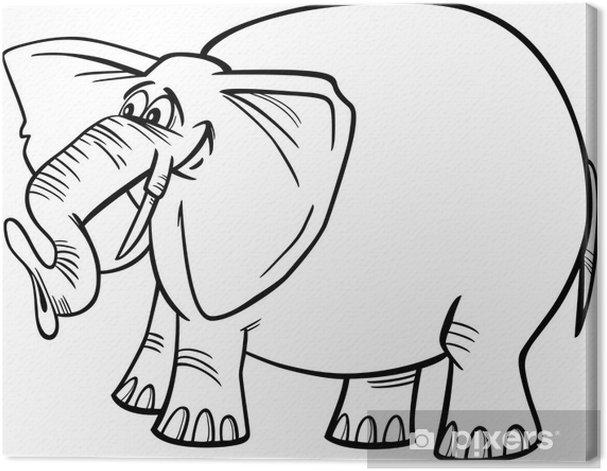 Tableau sur toile Illustration d'éléphant de bande dessinée à colorier - Sticker mural