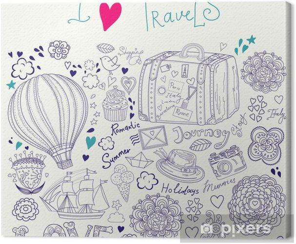 Tableau sur toile Illustration d'été avec des symboles de voyage - Vacances