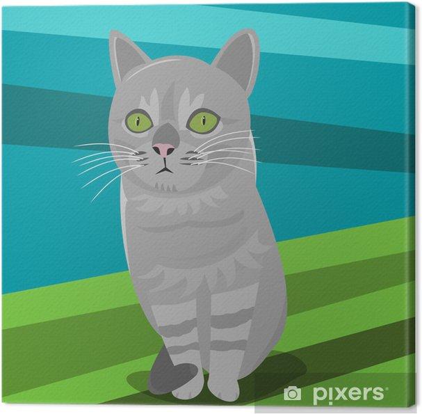Tableau chat gris portrait 5 tableaux sur toile illustration d 39 un chat gris