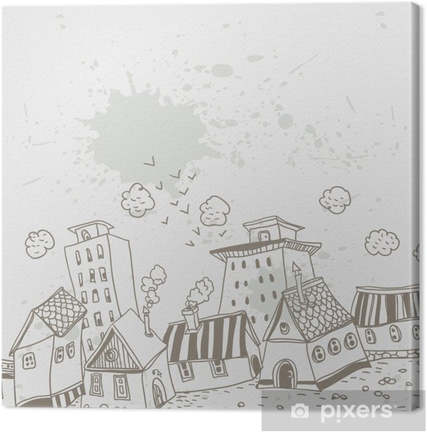 Tableau sur toile Illustration dans le style de bande dessinée avec des maisons - Villes européennes