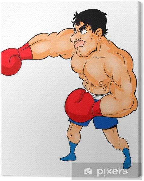 Tableau sur toile Illustration de bande dessinée d'un boxeur - Sports individuels