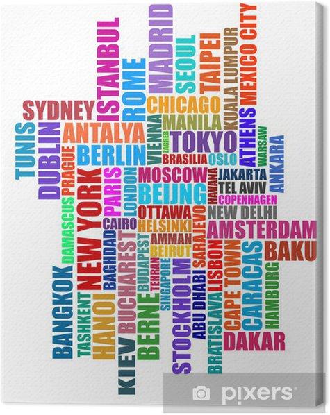 Tableau sur toile Illustration de capital typographique villes -