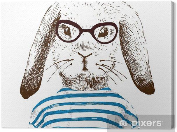 Tableau sur toile Illustration de lapin habillé - Animaux