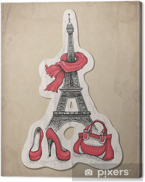 Tableau sur toile Illustration de mode. Tour Eiffel, chaussures et sac à main - Vacances