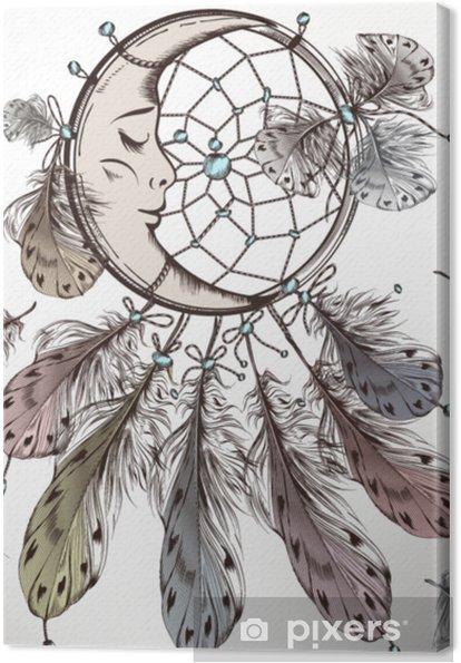 Tableau sur toile Illustration de mode tribale boho avec dreamcatcher et plumes - Ressources graphiques