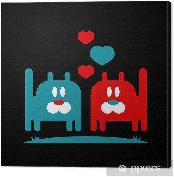 Tableau sur toile Illustration romantique deux minous mignons dans l'amour - Fêtes internationales