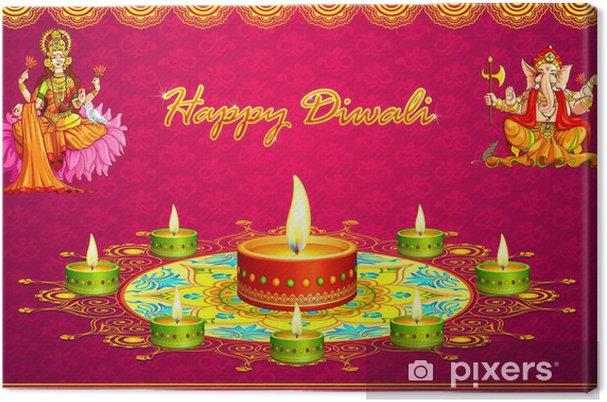 Tableau sur toile Illustration vectorielle de Diwali saluant avec Lakshmi Ganesha - Art et création
