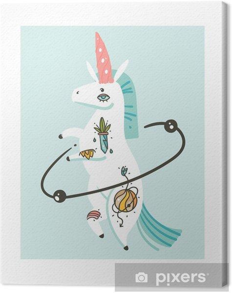 Tableau sur toile Illustrations dessinées à la main créatif dessin animé illustrations vectorielles avec le caractère de licorne licorne simple avec le vieux tatouage école isolé sur fond blanc - Animaux