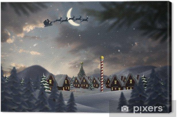 Tableau sur toile Image composite de la silhouette du Père Noël et le renne - Thèmes