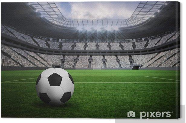 Tableau sur toile Image composite de noir et blanc de football en cuir - Sport
