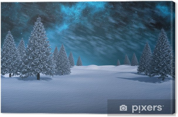 Tableau sur toile Image composite de paysage enneigé blanc avec sapins - Vacances