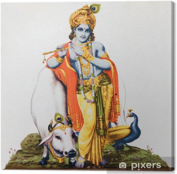Tableau sur toile Image du dieu hindou Krishna avec la vache, le paon, flûte - Styles