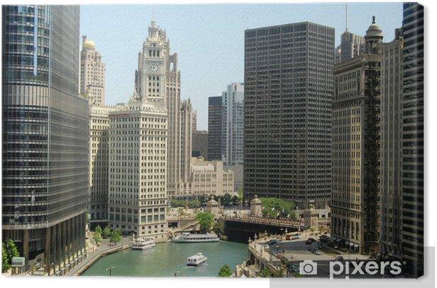 Tableau sur toile Immeubles de grande hauteur au centre-ville de Chicago, Illinois - Thèmes