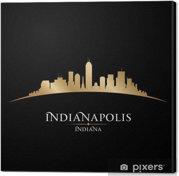 Tableau sur toile Indianapolis Indiana toits de la ville silhouette fond noir - Amérique