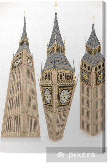 Tableau sur toile Isométrique tour de Big Ben dans trois positions - Villes européennes