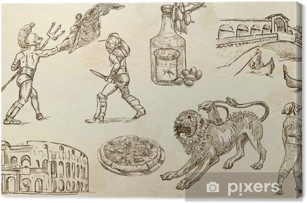 Tableau sur toile Italie - illustrations tirées main converties en vecteurs - Europe
