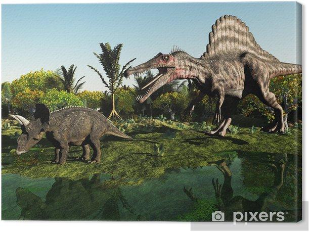 Tableau sur toile Jagd auf den Dinosaurier - Thèmes