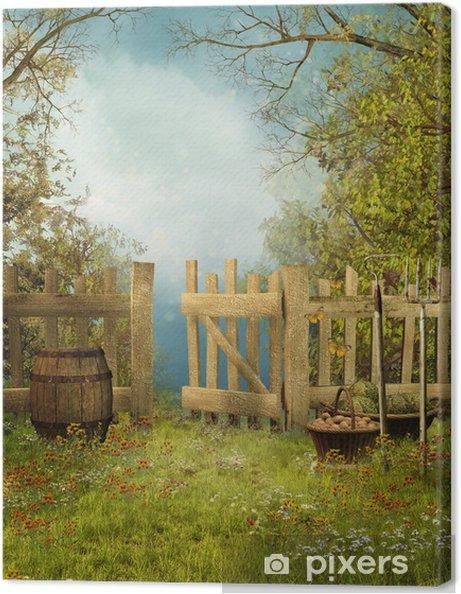 Tableau sur toile Jardin de campagne avec une clôture en bois ...