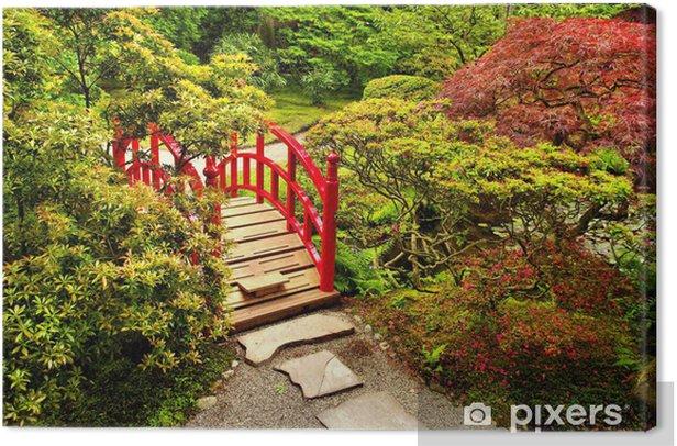 Tableau sur toile Jardin japonais avec un pont rouge magnifique - Thèmes