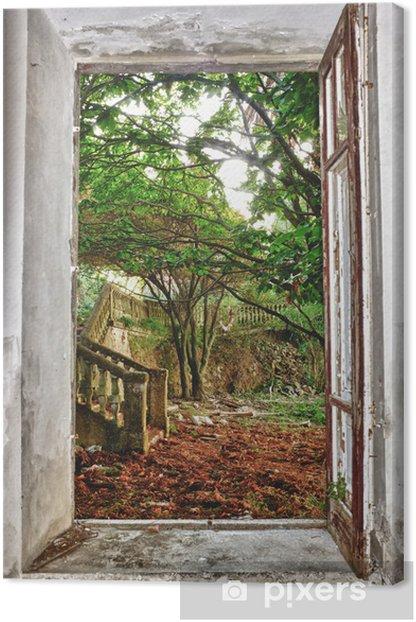 Tableau sur toile Jardin par la fenêtre - iStaging