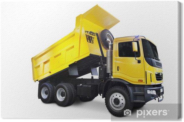 Tableau sur toile Jaune camion à benne - Machines