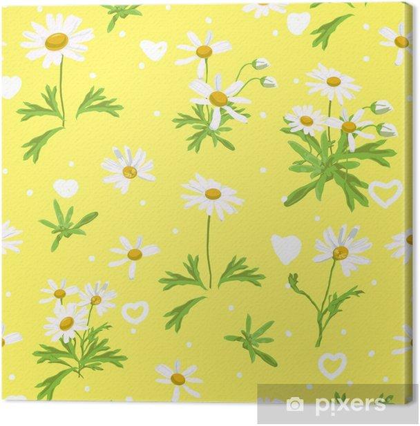 Tableau sur toile Jaune pour l'amant avec marguerite. la conception de marguerite blanche est vecteur pour le modèle sans couture et l'arrière-plan. - Plantes et fleurs