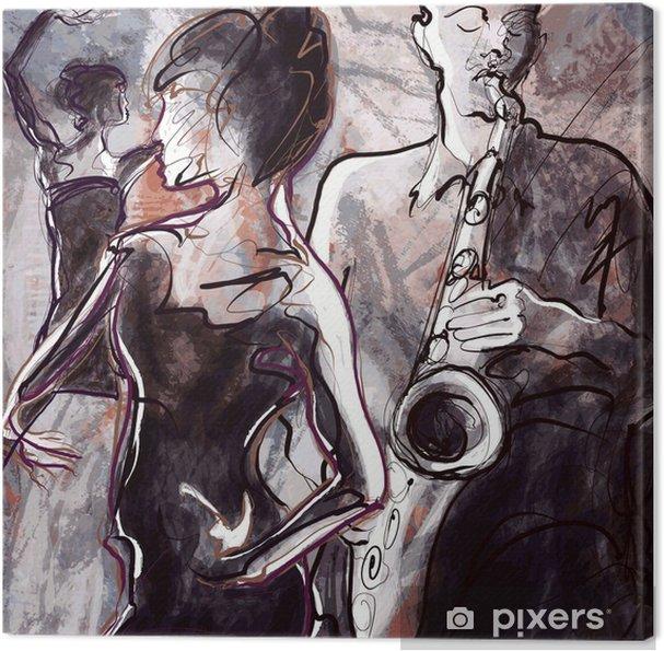 Tableau sur toile Jazz band avec des danseurs - Jazz