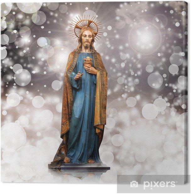 Tableau sur toile Jésus christ, statue, Noël, fond rose - Thèmes