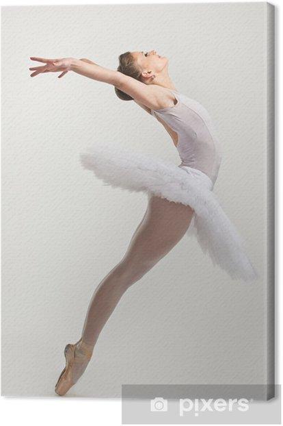 Tableau sur toile Jeune danseuse de ballerine dans le tutu effectuer sur pointes - Ballet