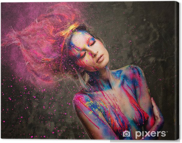 Tableau sur toile Jeune femme muse de l'art du corps créatif et coiffure - Destin