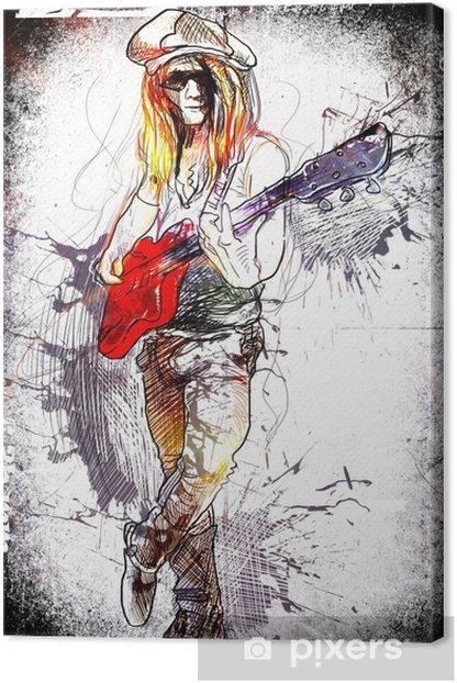 Tableau sur toile Jeune guitariste - une main dessiné grunge illustration - Divertissements