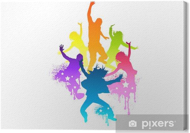 Tableau sur toile Jeunes et ajustement sautant de joie! Vector illustration. - Sports individuels