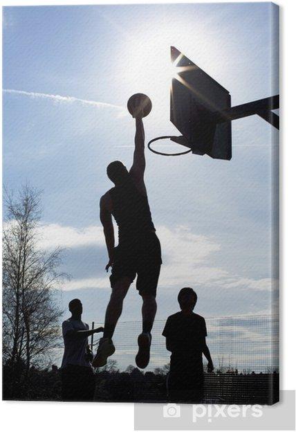 4af405529e591 Tableau sur toile Joueur de basket-ball silhouette de tremper dans un jeu -  Basket
