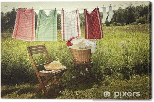 Tableau sur toile Jour de lavage avec lessive sur la corde à linge - Maisons et jardins